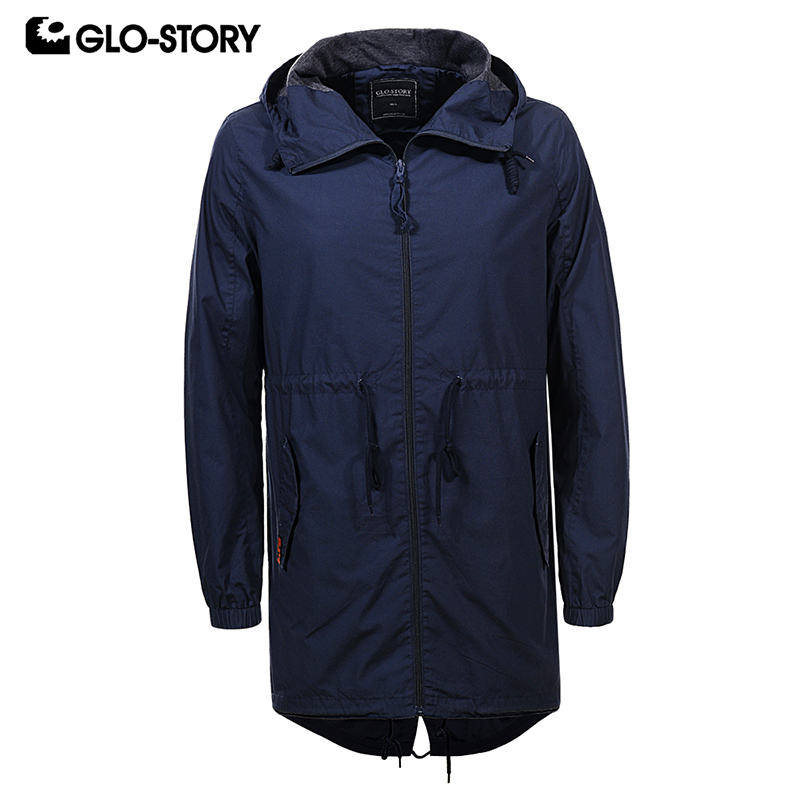 GLO-STORY Mens Streetwear Casual Hoody  Cotton Trench Coat Men Full Zipper Adjustable Waist Long Jackets Coats MSX-6067