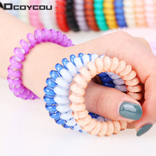 5 Pcs New Women Headdress Head Flower Hair Accessories Hair Ring Hair Rope Candy-colored Telephone Wire 19 Kinds of Colors(China)