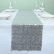 SILVER Glitz Banquet Sequin Table Runners Wedding Event Party Event Table Decoration