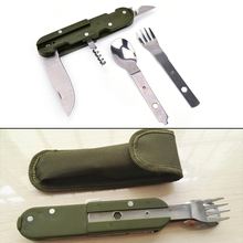 Portable Stainless Steel Travel Kit Army Green Folding Camping Picnic Cutlery Knife Fork Spoon Bottle Opener Flatware Tableware(China)