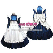 Hot Sale Custom Made Long Sleeve Princess Japanese Maid Outfit Gothic Satin Dress Cosplay Party Set  Apron Costume