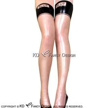 Buy Transparent Black Sexy Long Latex Stockings Letter Rubber Thigh high stockings WZ-0035