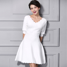 Women's summer clothing 2017 v neck white dresses female black pleated knit dress girls A-line dress black sweet one-piece dress