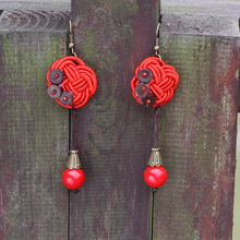 New Original  Chiness knots vintage earrings red, handmade coconut dangle earrings , olf fashined Ethnic jewelry earrings