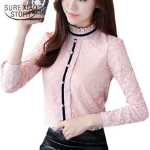 Buy 2017 new autumn long sleeve blouses lace pink shirts women tops office lady style slim casual shirts women clothing C869 30 for $13.10 in AliExpress store