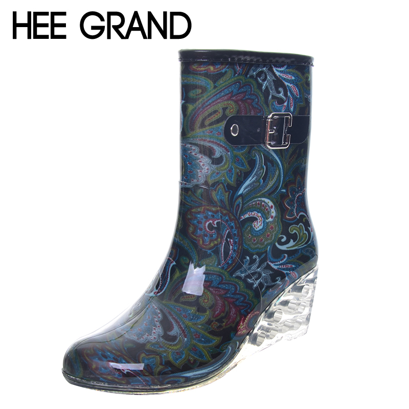 HEE GRAND Women Rubber Boots Transparent Wedges Heel Woman Rainboots Fashion Rainning Shoes For Ladies XWX4371<br>