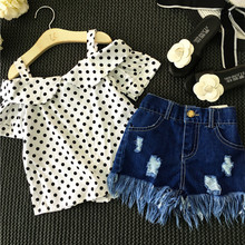 Girls Clothing Set Dot White Shoulderless Shirt+Tassel Jeans Shorts Pants Kids Clothes Suit Denim Children set baby girl - GOOPORSON Official Store store