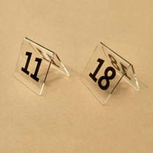 New 1 to 50 Tent Style Clean Acrylic Table Numbers Wedding Restaurant Cafe Office Sign Stand Double Sides Restaurant  Table card