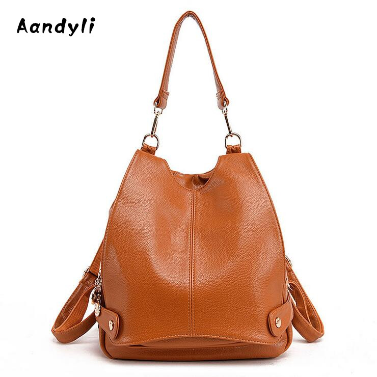Fashion Women Backpacks Cowhide Women Bags leisure leather School mochila Bags <br>