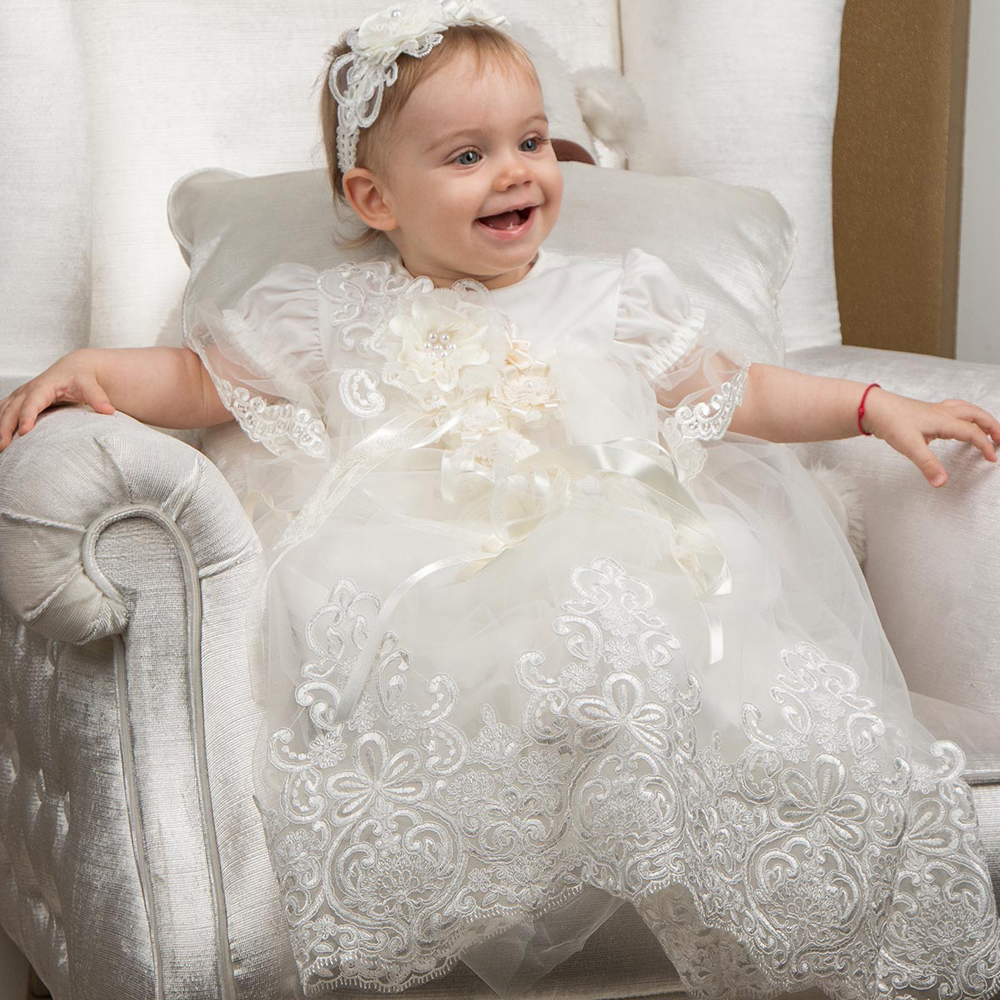 With Hat Baby Girl Dresses Solid Appliques and Flowers Three Quarter Floor Length A-line Zipper Baby Baptism Christening Gowns<br><br>Aliexpress
