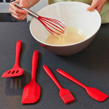 5pcs Silicone Egg Beater Blender+Cake Scraper+Steak Oil Brush+Scoop+Cooking Spoon Baking Tools Kitchen Cooking Utensils Set