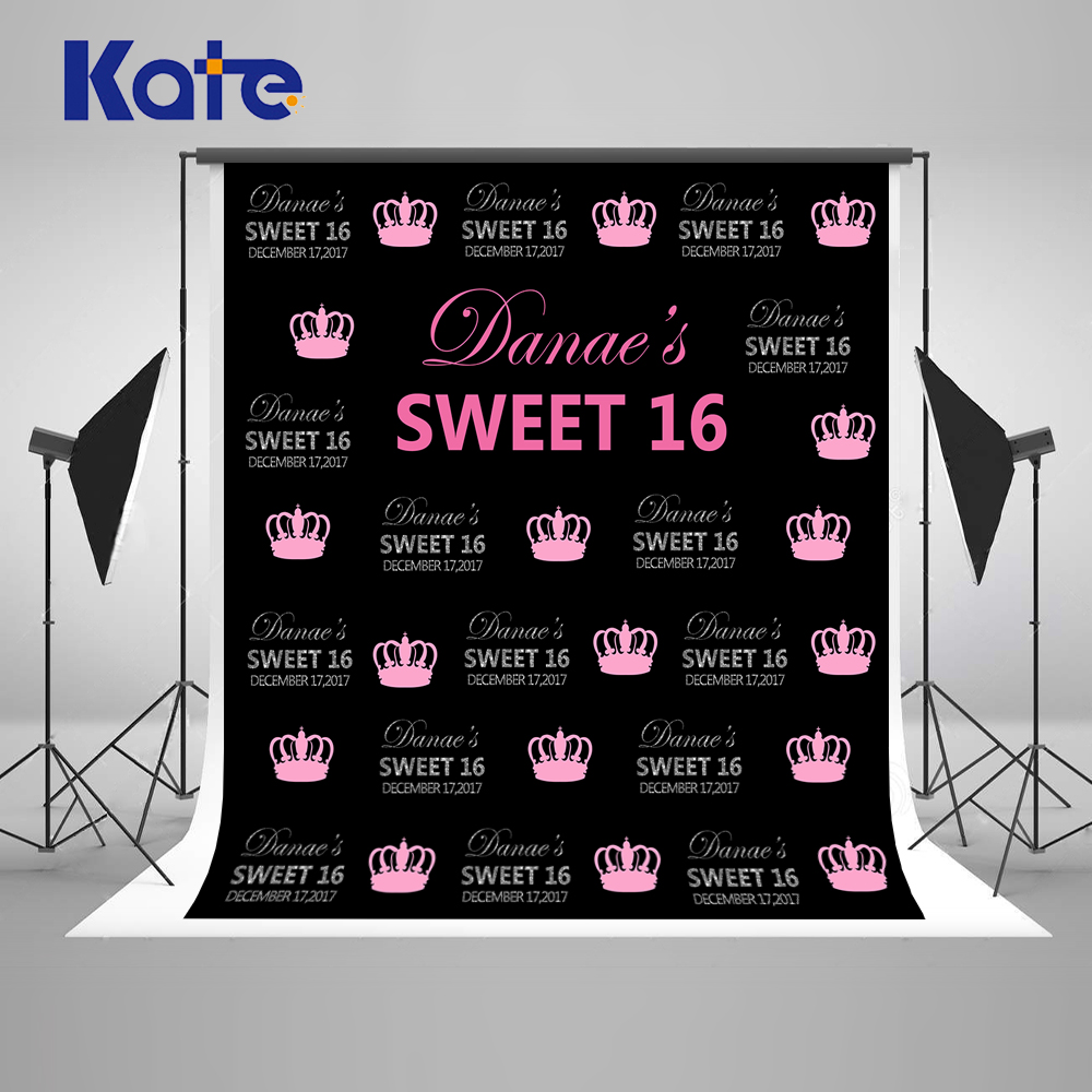 Kate Happy Birthday Photocall Background Photography 8x8ft Princess Crown Backgrounds For Photo Studio Custom Cotton Backdrop<br>