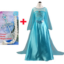 New Elsa dress long sleeve girl costume snow queen party dress princess Anna girls clothes vestidos infantis Congelados disfraz