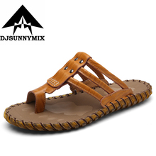 Buy DJSUNNYMIX Luxury Brand 2018 New Men's Flip Flops Genuine Leather Slippers Summer Fashion Beach Sandals Shoes Men for $21.50 in AliExpress store