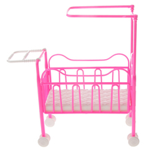 Newest Mini Plastic Pink Cot Bed Dolls Bedroom Furniture for Dolls Dollhouse Princess Pretend Play Girl Toy Dolls Accessory