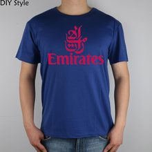 FLY EMIRATES Airlines T-shirt Top Lycra Cotton Men T shirt New Design High Quality Digital Inkjet Printing(China)