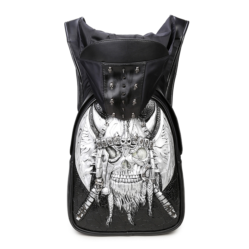 Fashion New  Gothic Style Personality 3D leather backpack rivets skull backpack with Hood cap apparel bag cross bags hiphop man<br><br>Aliexpress