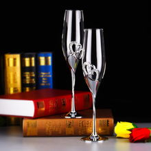 2016 Round Stocked New Arrival Fashion 26cm Height Wedding Champagne Glasses Goblet Toast Flute Silver Martini Glass Party Wine