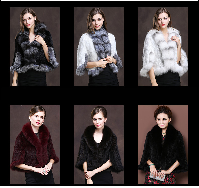 Winter Shawl Wrap Poncho Real Knit Mink Fur shawl With Fox Trimming Real fur Jacket coats party 2017 new (12)