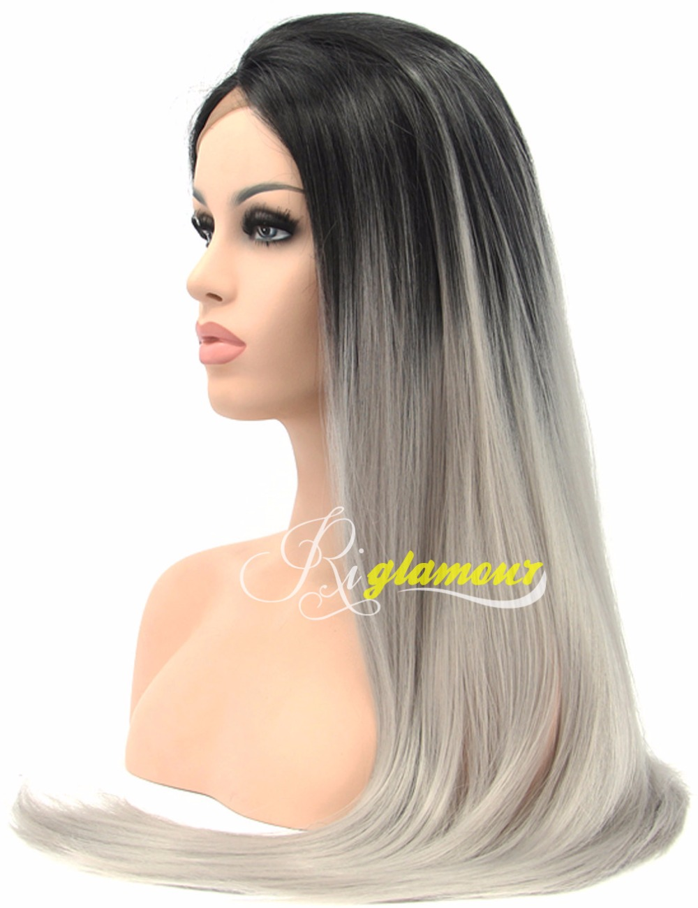 Ombre Hair Wig with Grey and Black 2 Tone Synthetic Lace Front Wigs for Women Long Silky Straight Wig Heat Resistant<br><br>Aliexpress