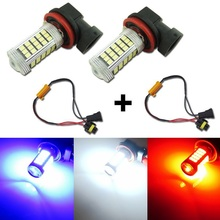 2PCS 66 SMD H8 H11 LED Bulbs Red Blue White Fog Light DRL Replacement Bulb With Auto Error Free Canbus Led Decoder Load Resistor(China)