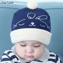 Winter Hats For Kids Flanging Baby Boys Girls Rabbit Pattern Cap Cotton Knitting Hats Touca Infantil(China)