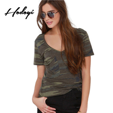 Hodoyi Sexy Camo Print Women Tees Fashion V Neck Short Sleeve Casual Street Style Shirt Army Green Loose Basic T-shirt