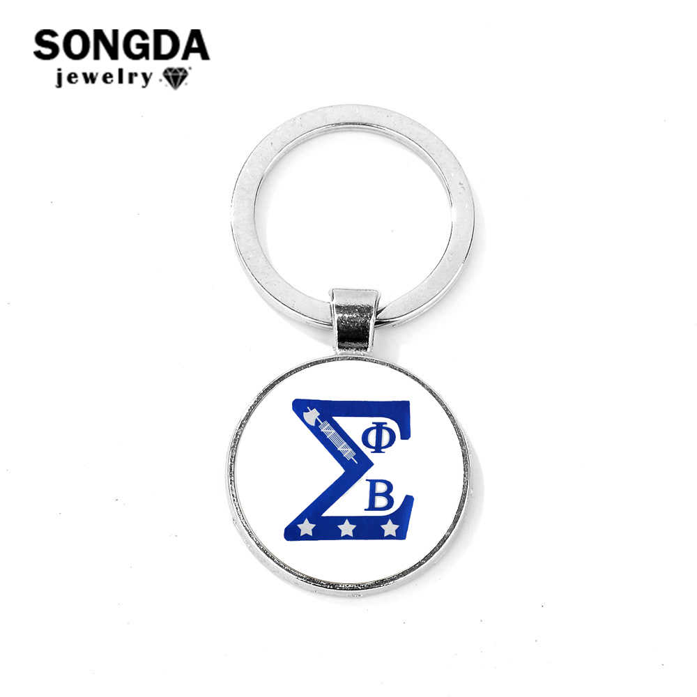 SONGDA Unique Phi Beta Sigma Greek Letters Keychain Picture 3D Effect Glass Gem Pendant Key Holder