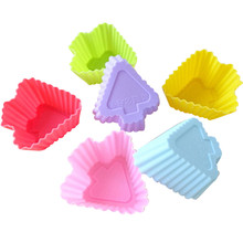 12Pcs/pack Candy Color Silicone Soft Cake Muffin Chocolate Cupcake Liner Baking Cup Mold 7CM Hot New #614(China)