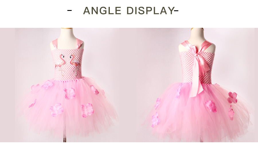 Girls Flamingo Kiss Tutu Dress Cartoon Flamingos Flower Princess Dresses for Photo Birthday Party Dress Up Clothing Summer Dress (10)