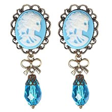 2PCs Women Queen Blue Crystal Stone Ear Plugs Tunnel Stretcher Gauges Body Jewelry Expander(China)