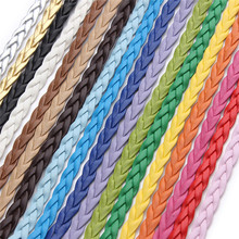 19 Colors 10 Meters/lot 5MM Diameter Flat Braided PU Leather Cords Thread Ropes for DIY Wrap Bracelets Necklace Jewelry F616