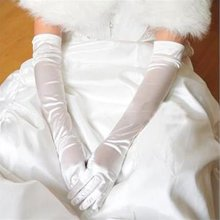 New sexy Satin Ruched elegant Suede gloves accessories for Bride Bridesmaid gloves 3 colors(China)