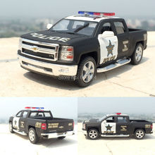 New arrival 5'' 12cm 2014 Chevrolet Pickup American police car Alloy Kinsmart Diecast model toy cars for boys