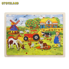 UTOYSLAND 60-Piece / set Miller's Farm Wooden Jigsaw Puzzle Baby Kids Children Educational Toy