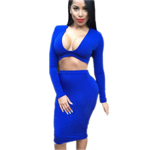 Dreszdi Sexy Blue Bodycon Women Two Piece Set Crop Top & Skirt Sets Long Sleeve V Neck Summer Club Set