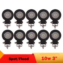 10W LED Work Light 12V 24V 4X4 4WD SUV Driving Headlight DRL For Suzuki Honda Motorcycle Yamaha Boat Pickup Tractor ATV UTB UTV