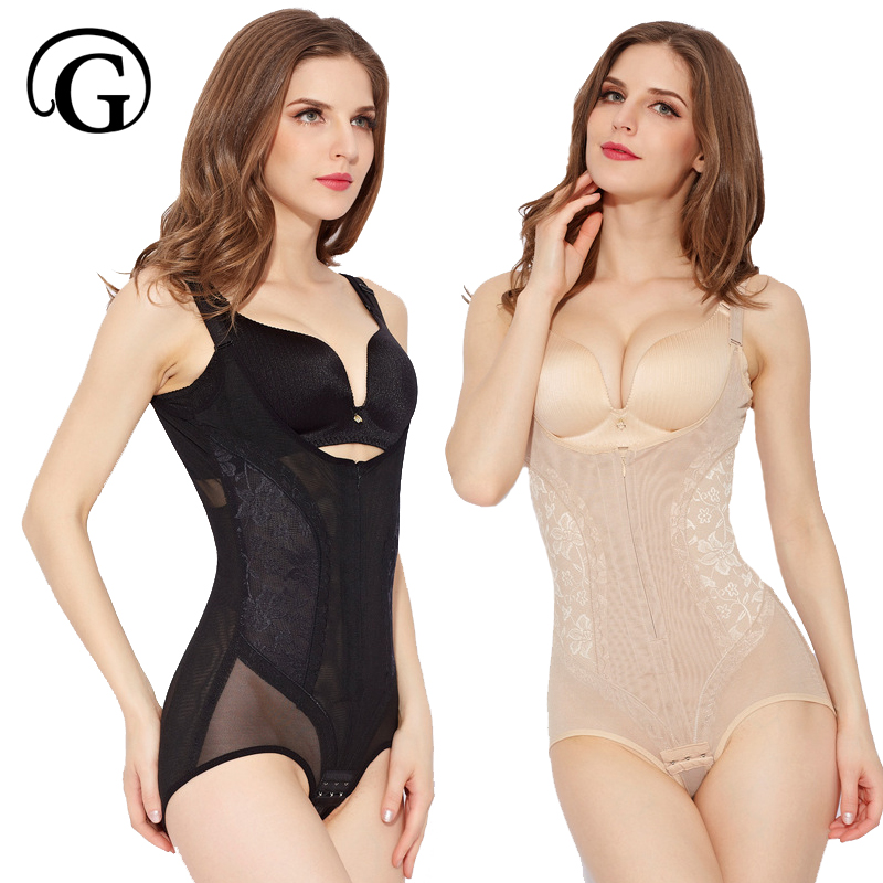 PRAYGER 5XL Plus Women Zipper Slimming Waist Bodysuits Lift Bras Full body Shaper Hook Butt Lift Tummy Trimmer Shapewear(China)