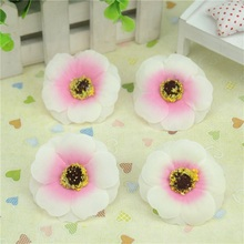 Cheap 10pcs 4.5cm Silk Artificial  Poppy Flower Head For Wedding Home Decoration DIY Scrapbooking Accessories Rose Fake Flowers