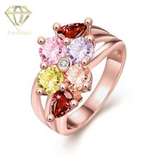 Fake CZ Rings Wholesale Rose Gold Color with Colorful AAA+ Cubic Zirconia Rings Jewelry for Women Girls Party Wedding(China)