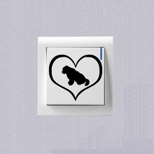 Old English Sheepdog Dog Creative Cartoon Switch Sticker Vinyl Home Decoration Wall Sticker 2SS0690(China)