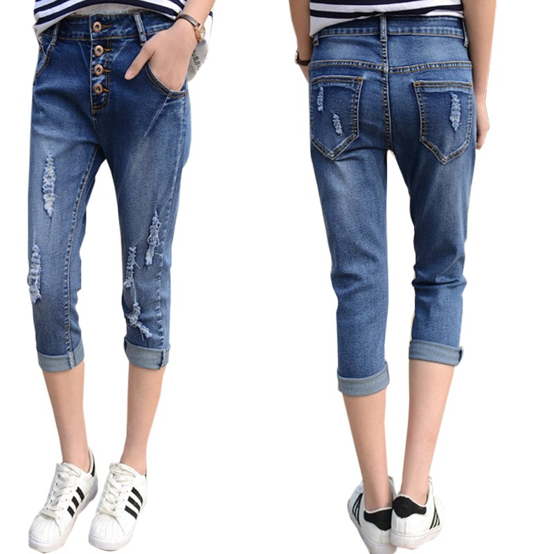 Denim Slim Ripped Skinny Harem Pants Crop Jeans Bottoms Trousers Summer Pants Women Capris Hole Blue Ladies 3/4 JeansОдежда и ак�е��уары<br><br><br>Aliexpress