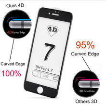 Luxury Full Cover 4D Tempered Glass For iPhone 7 7Plus 6 6S Plus CARVING Curved Edge Screen Protector Film 1pcs