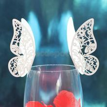 50pcs Butterfly Wine Glass Name Place Cards Wedding Topper Decor -Ice white/Black/Purple/Blue(China)