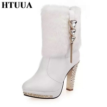 HTUUA Women Boots 2017 Winter Boots Black White PU Leather Rabbit Fur Short Ankle Boots Warm Plush High Heels Shoes 35-41 SX616(China)