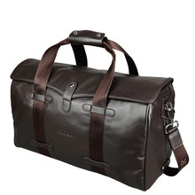 Luxury Genuine Leather Men Travel Bags Luggage Bag Large Men Duffle Bag Weekend Leather Luggage Travel Bags Overnight Tote Big(China)