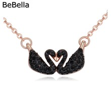 BeBella double swan shape pendant Crystal Necklaces Made with Czech crystal women for bridesmaids wedding jewelry