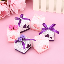25pcs/lot loving heart riband Wedding favor candy Box party Supplies wedding decorations(China)