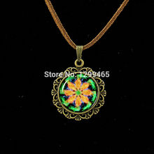 Religious Culture Jewelry Henna Buddhism Glass Leather Necklace Om YOGA Jewelry Muslim Zen Meditation Mandala Necklace L 361(China)