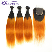 BEAUDIVA Pre-Colored Brazilian Straight Hair 3 Bundles With Closure Cheap Human Hair Bundles With Closure 1B/Yellow Ombre Color(China)